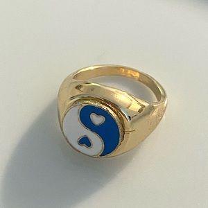 Yin Yang Enamel Ring Blue and White Size 7